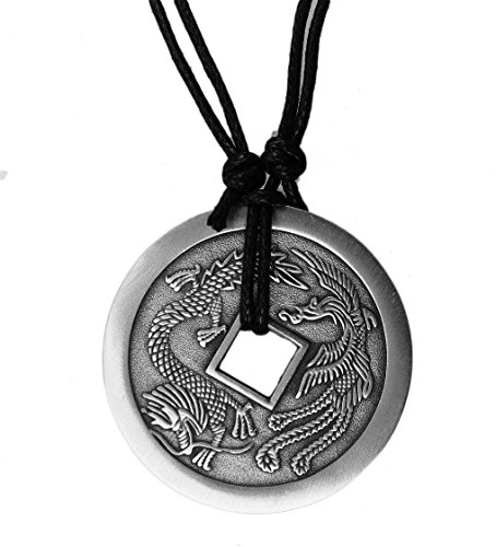 (exoticdream Big Chinese Lucky Coin Charm Pewter Pendant Necklace Adjustable Amulet (Lung Bei Qian) - Dragon Phoenix)