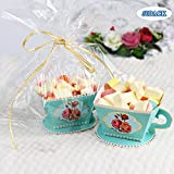 AerWo 50pcs Teacups Candy Boxes, Tea Party Birthday and Baby shower Favor Box, Cute Tea Candy Boxes for Tea Time Party and Wedding Decoration (Green)