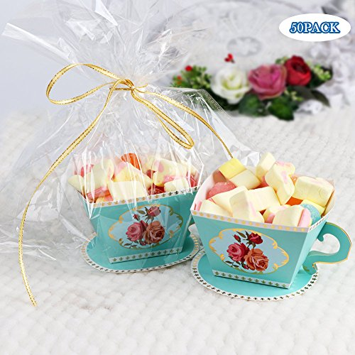 AerWo 50pcs Teacups Candy Boxes, Tea Party Birthday and Baby shower Favor Box, Cute Tea Candy Boxes for Tea Time Party and Wedding Decoration (Tea Party Ribbons)