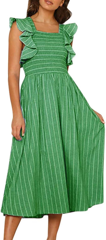 ODJOY-FAN Kleid Kleider Damen Weste Spitze Streifenkleid Frau