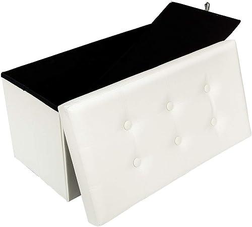 Folding Storage Ottoman Storage Chest Foot Rest Stool PVC Leather Bench