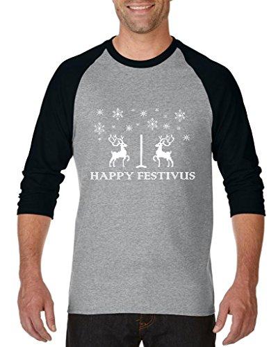 ARTIX Happy Festivus Deers Ugly Sweater Best Friend Unisex Raglan Baseball T-Shirt Small Heather Grey (Happy Halloween Printables)