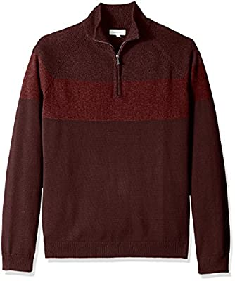 Calvin Klein Men's Raglan Color Block Quarter Zip Sweater, Borgata, 2X-Large