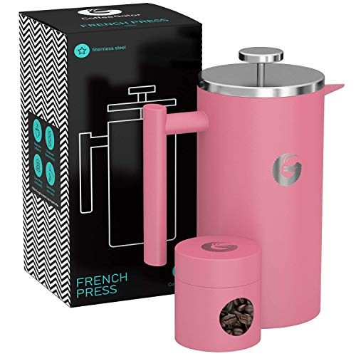 - Coffee Gator French Press Coffee Maker - Less Sediment, Hotter-For-Longer Thermal Brewer - Large Capacity, Double-Wall Insulated Stainless Steel - 34 Ounce - Pink