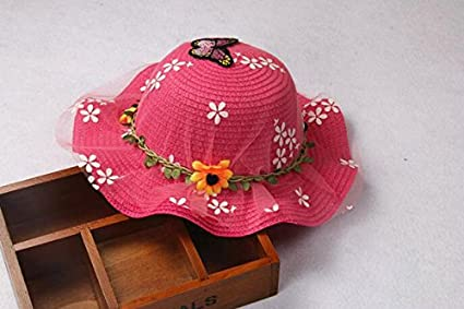 Da.Wa Princess Girls Kids Summer Hat Cute Lace Floral Cap Straw Hat Woven Straw Hat Children Beach Sun Hat for Outdoors Holiday Travel
