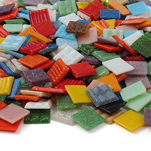 Milltown MerchantsTM Mosaic Tiles - Bulk Mosaic Tile Assortment - 3/4 Inch (20mm) Mixed Colors Venetian Glass Tile - 7 Pound (112 oz) Craft and Backsplash Tile