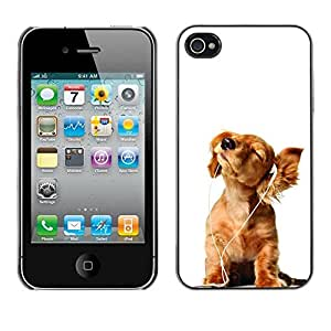 YiPhone /// Prima de resorte delgada de la cubierta del caso de Shell Armor - Golden Retriever White Music Puppy - Apple iPhone 4 / 4S