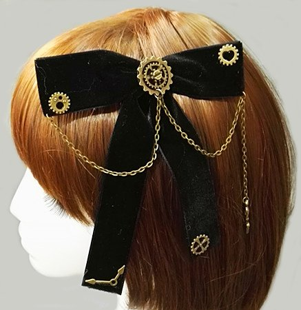 Steampunk Bow Neck tie Industrial Victorian Lolita Punk Gear Bowknot Hair Clip for Blouse Accessory Kangsanli]()