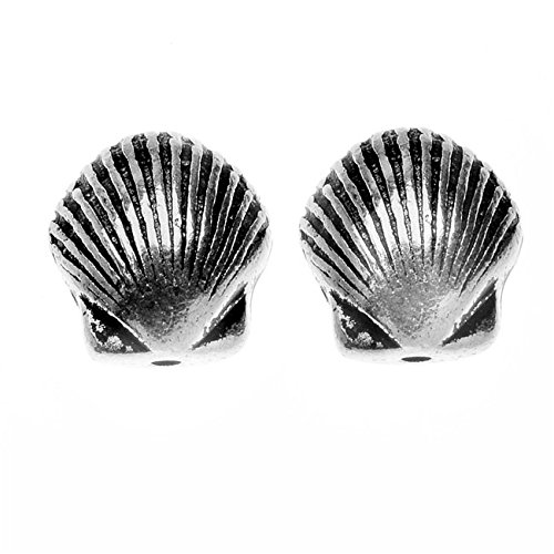 Scallop Shell Beads (TierraCast Pewter, Small Scallop Shell Beads 9x8.5mm, 2 Pieces, Silver Plated)