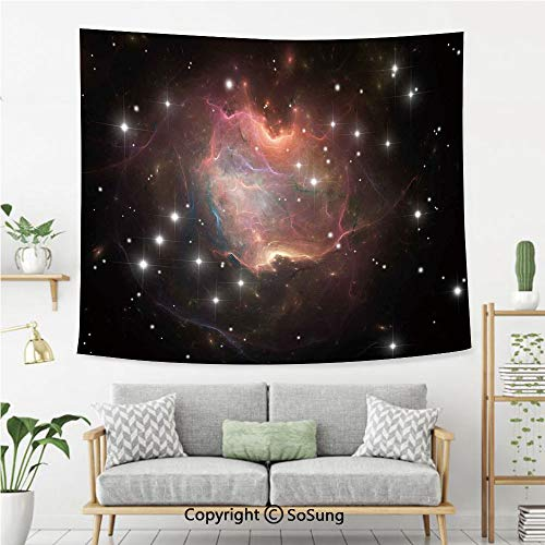 SoSung Constellation Wall Tapestry,Deep Down in Outer Space Complex Supernova Phenomenal Dynamic Universe Image,Bedroom Living Room Dorm Wall Hanging,60X50 Inches,Multicolor