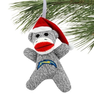 FOCO NFL San Diego Chargers 2013 Sock Monkey Ornament, -