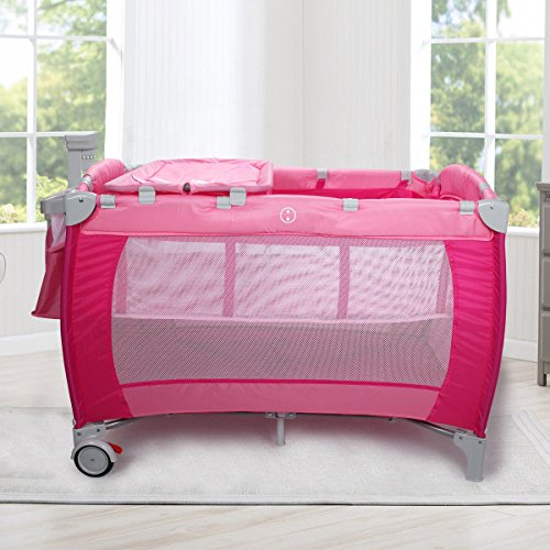 MD Group Baby Crib Playpen Foldable Double Tier Pink Oxford Cloth w/ Mosquito Net and Bag