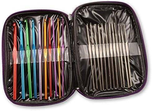 [해외]1 X Pack of 22 Sizes Multi-Colour Aluminum & Steel Crochet Hooks Needles Yarn Weave Knit Craft Set in Case / 1 X Pack of 22 Sizes Multi-Colour Aluminum & Steel Crochet Hooks Needles Yarn Weave Knit Craft Set in Case