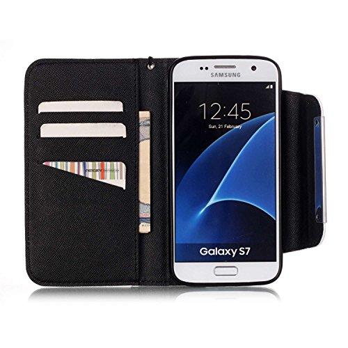 Samsung Galaxy S7 Funda Libro de PU Leather Cuero - Sunroyal® Piel Wallet Carcasa Con Flip Flexible Cobertura Completo Tirón Case Cover ,Cierre Magnético,Función de Soporte,Billetera con Tapa Tarjetas A-07
