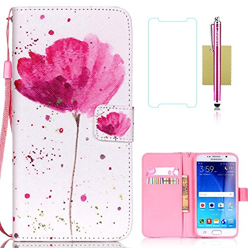 Galaxy S6 Case,Samsung Galaxy S6 Case,S6 Case,CASELAND Flip Cover Wallet PU Leather with Stand + Lanyard Case for Samsung Galaxy S6 - Lotus