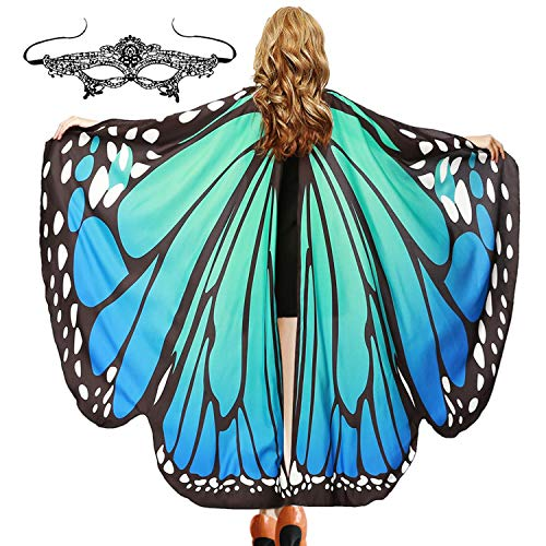 Easy Home Couple Halloween Costumes (Halloween Soft Fabric Butterfly Wings Shawl with Mask for Women Fairy Ladies Cape Cloak Nymph Pixie Costume Accessory (Bluish)