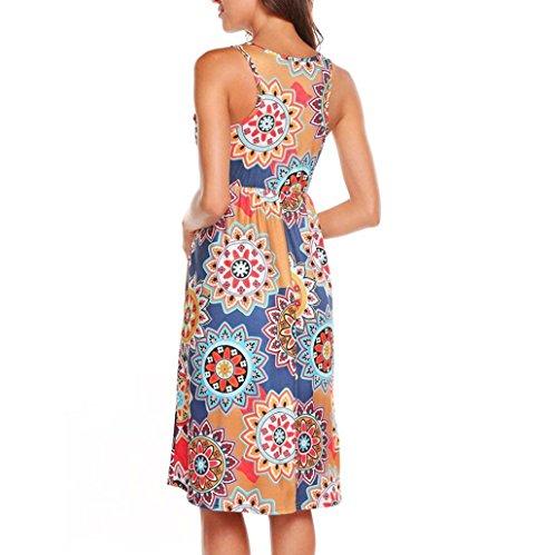 Vestidos Mujer Verano 2018,Mujer sin mangas Vintage bohemio Maxi fiesta de la noche vestido floral de playa LMMVP (XL, F): Amazon.es: Belleza