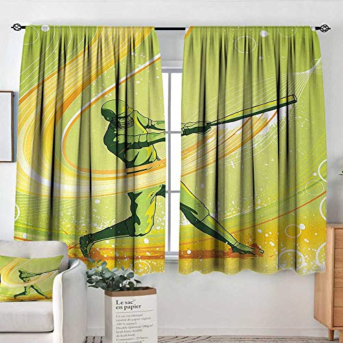 - Theresa Dewey Curtain Panels,Set of 2 Baseball,Baseball Player Hits Ball Batter Athlete Pitcher League Team Artsy Illustration,Green Yellow,Modern Farmhouse Country Curtains 42