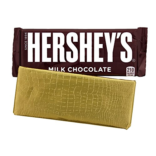 "Foil Wrapper"" GOLD ALLIGATOR"", 6"" X 7.5"", For Over Wrap 1.55 OZ Hershey Bar, 100 in a pack"