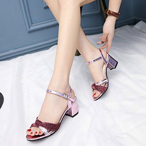 Verano Mujer zapatos de cuero Sandalia de verano boca de pescado,39 nude Pink
