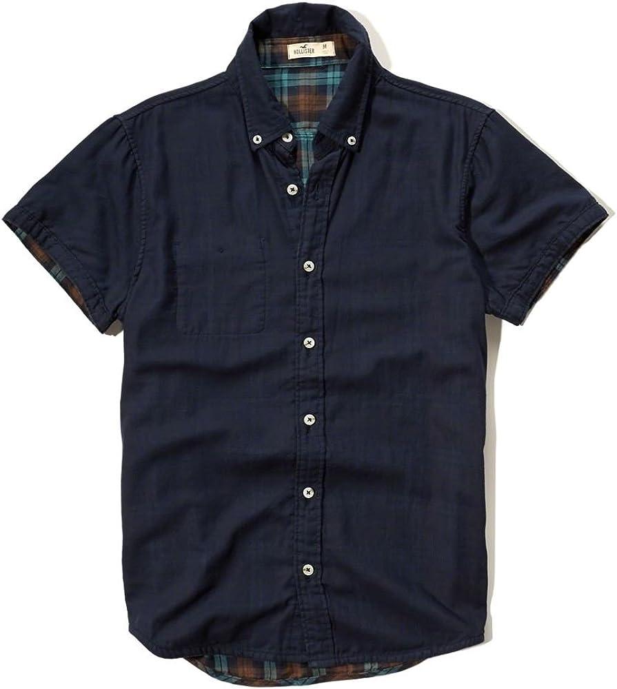 Hollister - Camisa Casual - Button Down - Étnica - con Botones - Manga Corta - para Hombre Azul Azul Marino X-Small: Amazon.es: Ropa y accesorios