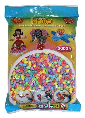 Hama - 201-50 - Loisirs Créatifs - Perles et Bijoux - Sachet 3000 Perles - Pastel Mixte