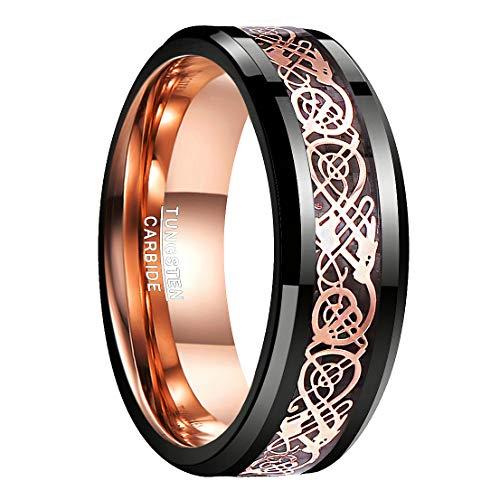 Nuncad Black Tungsten Ring 8mm Comfort Fit Rose Goled Plated Celtic Dragon Beveled Edge Size 11 (Rose Dragon)