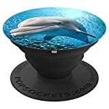 Jame's Designs: Dolphin In Ocean w/ School Of Fish PopSocket - PopSockets Grip and Stand for Phones and Tablets