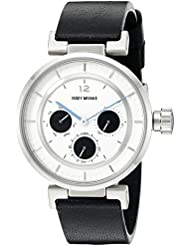 ISSEY MIYAKE Womens SILAAB02 W Mini Stainless Steel Watch with Black Genuine Leather Band