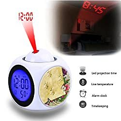 Projection Alarm Clock Wake Up Bedroom with Data and Temperature Display Talking Function, LED Wall/Ceiling Projection,Customize the pattern-559.Vintage Background Paper