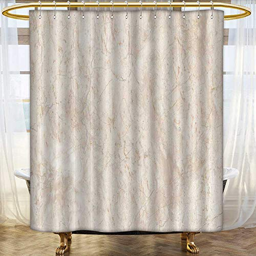 Jiahonghome Shower Curtains Mildew Resistant Stone Italian Marble Warm Cream Bathroom Decor Sets with Hooks Size:W72 x L96 inch