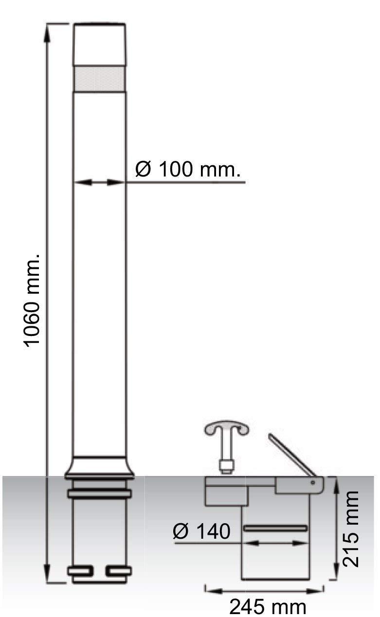 Bolardo flexible A-Flex con base extra/íble de pl/ástico Pilona flexible de alta resistencia y flexibilidad negra 2- PIlonas