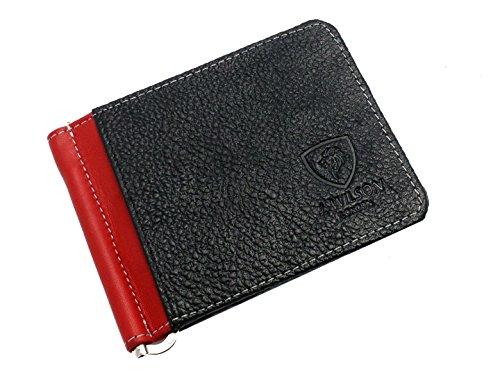 J Fold Bi Fold Wallet (J. Wilson London J Wilson 5297 Leather Thin Wallet Money Clip Credit Card Medium Red / Black)