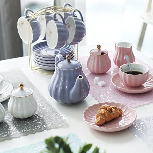 Porcelain Tea Sets British Royal Series, 8 OZ Cups& Saucer Service for 6, with Teapot Sugar Bowl Cream Pitcher Teaspoons and tea strainer for Tea/Coffee, Pukka Home (Milk Purple) by Pukka Home (Image #5)