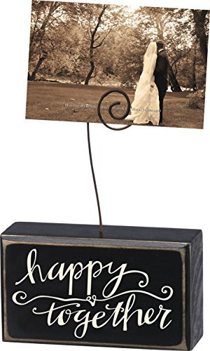 Primitives By Kathy Wooden Clip Photo Holder, 5'' X 3'', Happy Together
