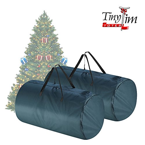 Tiny Tim Totes | Premium 2-Pack | Canvas Christmas Tree Storage Bags | Extra Large For 9 Foot and 7.5 Foot Trees | Green