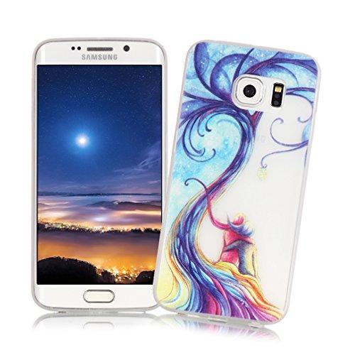 XiaoXiMi Carcasa Samsung Galaxy S6 EDGE Funda Luminosa de Silicona Caucho Gel para Samsung Galaxy S6 EDGE Soft TPU Silicone Case Cover Carcasa Protectora Funda Blanda Suave Flexible Caja Delgado Liger Árbol del Amor