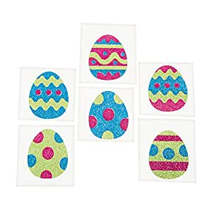 Easter Egg Sparkly Glitter Temporary Tattoo Stickers - 12 pieces