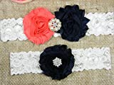 Coral and Navy Blue Garter, Wedding Garter Set, Bridal Garter Belt, Keepsake and Toss Stretch Lace Garters