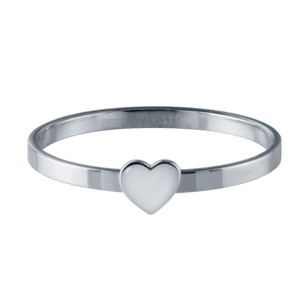 Quiges Stainless Steel Silver Single Heart Band Inner Ring 2mm Height for Stackable Ring