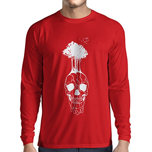 lepni.me N4341L Long Sleeve t Shirt Men The Skull and The Tree (Medium Red Multi Color)