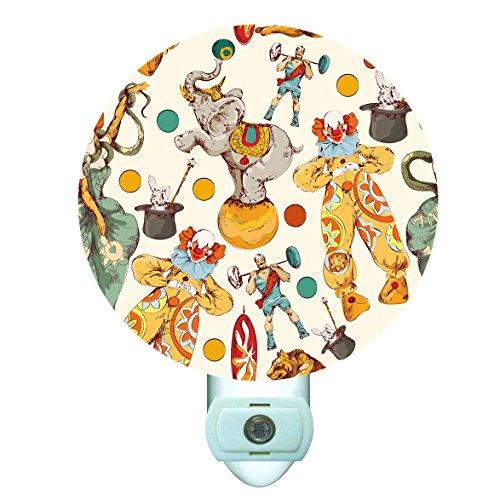 Circus Lamp - Circus Collage Decorative Round Night Light