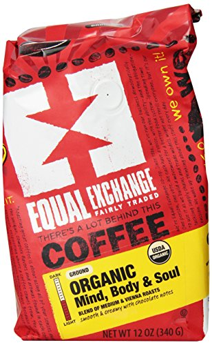 Equal Exchange Organic Coffee, Mind Body Soul, Ground, 12-Ounce Bag