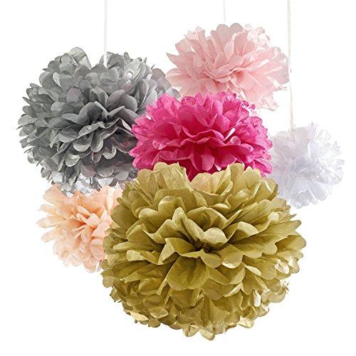 Poem Craft Kit (Birthday Decorations Pom Pom, 18 Tissue Paper Flowers Pom Poms, Party Supplies Pink Gold White, For Bachelorette Bridal Shower & Wedding Banner Decor, 1st Baby Girl Nursery Flower Decoration,)