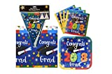 TLP Party 2018 Graduation Party Supply Pack for 28 Guests - Bundle Includes Paper Plates & Napkins, Plastic Table Cover and Flag Banner