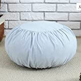 Japanese Style Cotton/Linen Poufs Decorative Round Seat Cushion Thicken Hassock Chair Tatami Bay Window Stool Cushion Futon Home Decor Supplies (light blue)