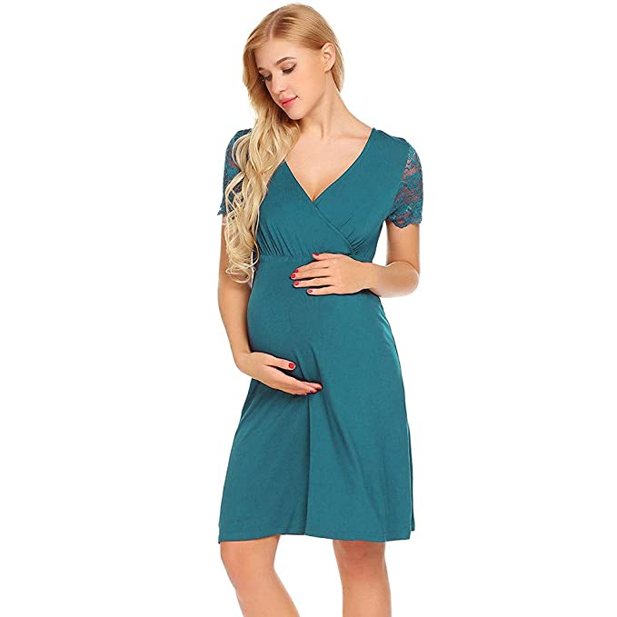 57284030f34 Maternity Clothing Women Beikoard Pregnant Womens Nursing Nightgown Pregnancy  Dress Lace Splice Maternity Dress  Amazon.co.uk  Clothing