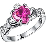 Sumanee Charming Women 925 Silver Heart Cut Topaz Claddagh Ring Wedding Jewelry Sz 6-9 (8)
