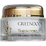 Greendoor crema viso giorno tonificante con tè bianco, cura di giorno naturale protettivo, 50 ml, senza brillare grassa, produzione di qualità cosmetici naturali