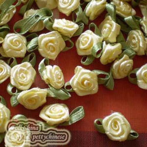 20pcs Cream Satin Ribbon Roses Leaf 15mm Appliques Scrapbook Sew Craft Jmsrl